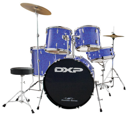 DXP  'Pioneer ' Series Rock Drumkit with Cymbals & Throne    Metallic Blue