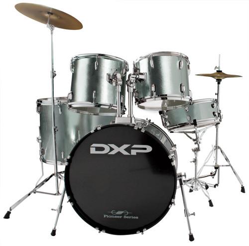 DXP  'Pioneer ' Series Rock Drumkit with Cymbals & Throne     Gun Metallic Grey