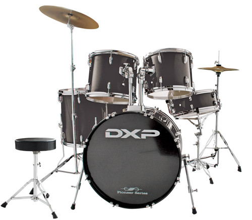 DXP  'Pioneer ' Series Rock Drumkit with Cymbals & Throne    Black