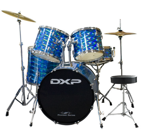 DXP  'Pioneer ' Series Rock Drumkit with Cymbals & Throne    3D Blue