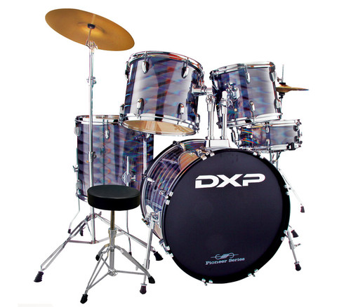 DXP  'Pioneer ' Series Rock Drumkit with Cymbals & Throne    3D Silver