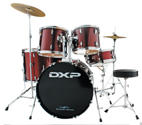 DXP  'Pioneer ' Series Rock Drumkit with Cymbals & Throne    Wine Red