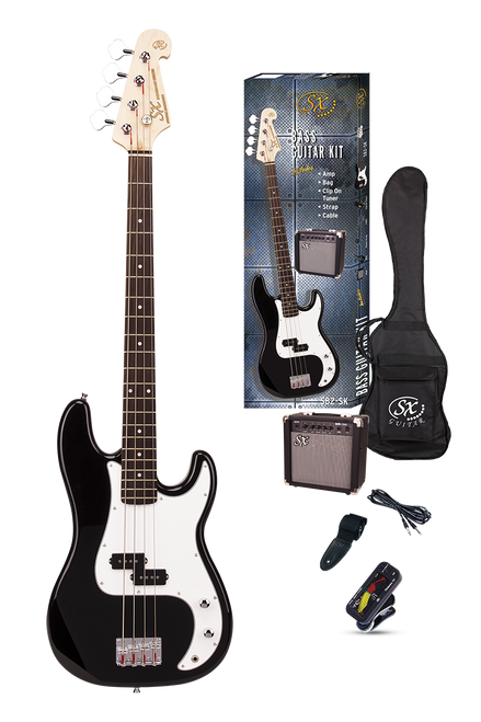 ESSEX  Beginners ST Style Bass Guitar & Amp Pack  Left Handed Black