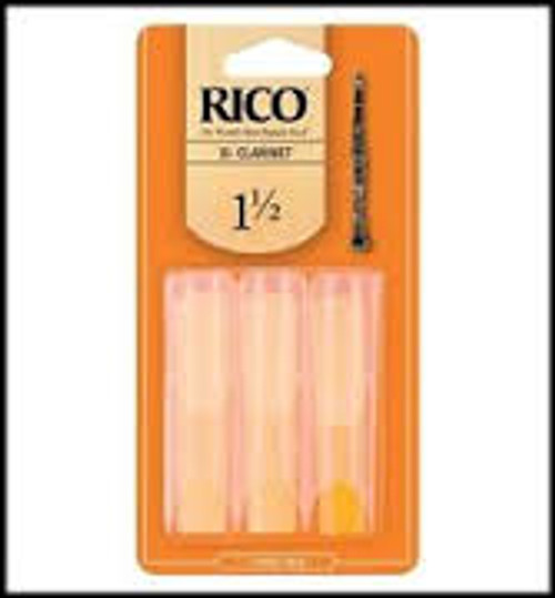 Clarinet Reeds   1 1/2   Pack of 3   Rico