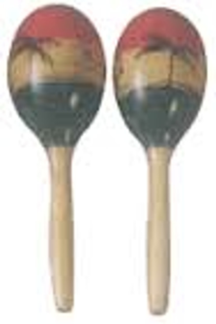 Maracas   oval wood tropical design   Mano