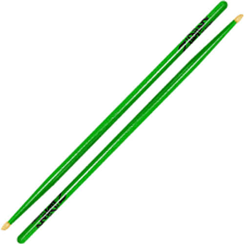 Pack Of 3   Zildjian   5A Wood Tip Drumsticks Acorn   Neon Green, Yellow or Pink