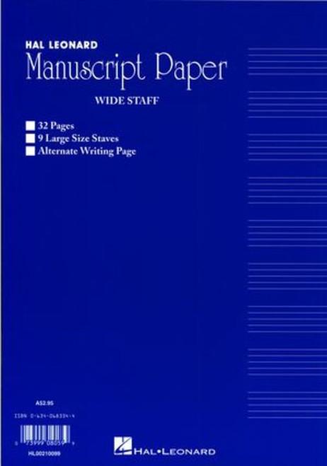 WIDE STAFF MANUSCRIPT 32PG BLUE 9 STAVE INTERLEA MUSIC BOOK