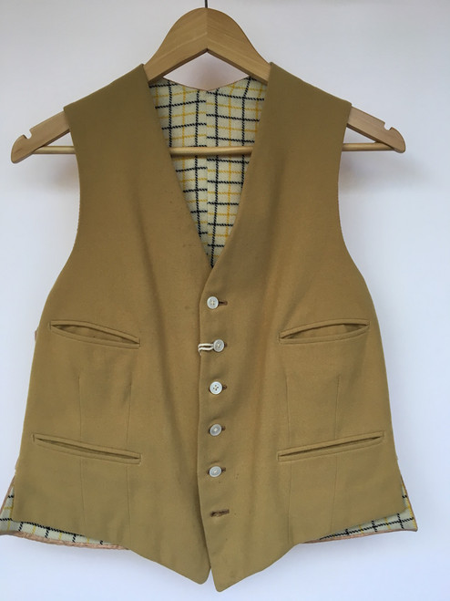 """Vintage Gold Waistcoat WithTattersall Lining, 38"""""""