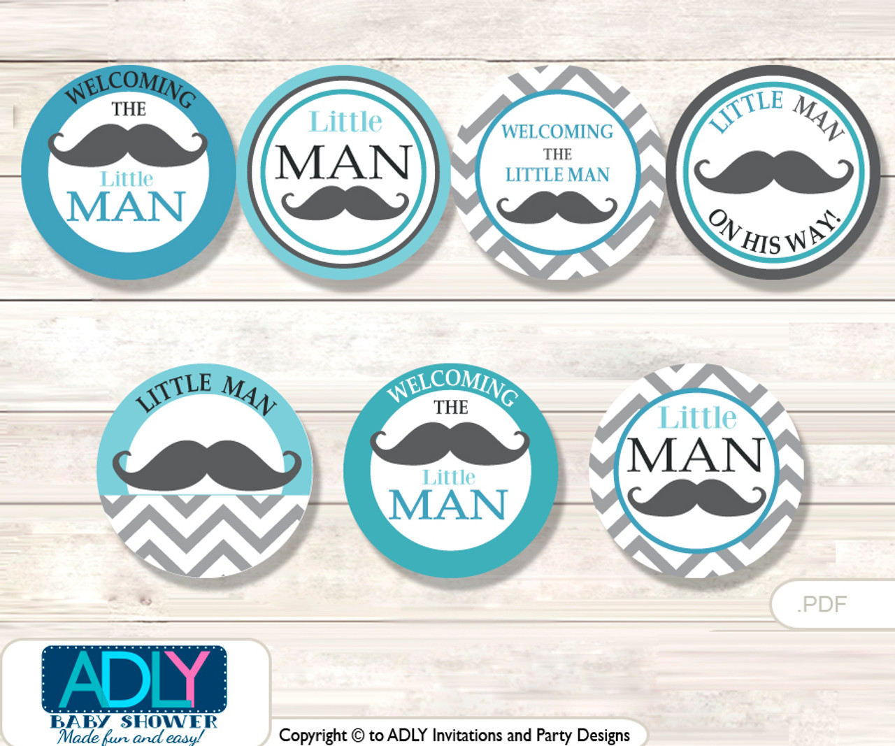 Baby Shower Man Mustache Cupcake Toppers Printable File ...