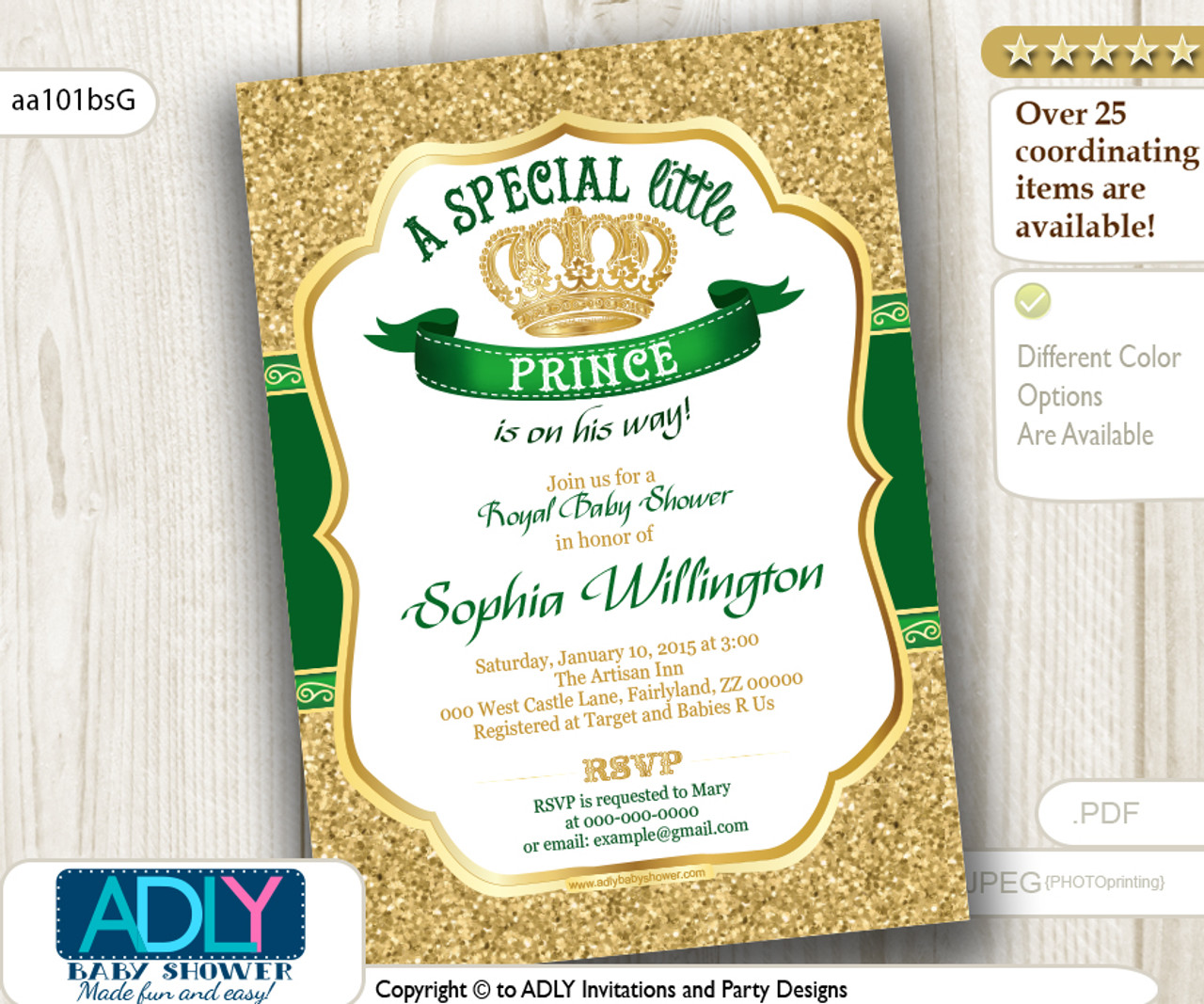 Burlap Green Gold Prince or King Baby Shower Invitation - ADLY ...