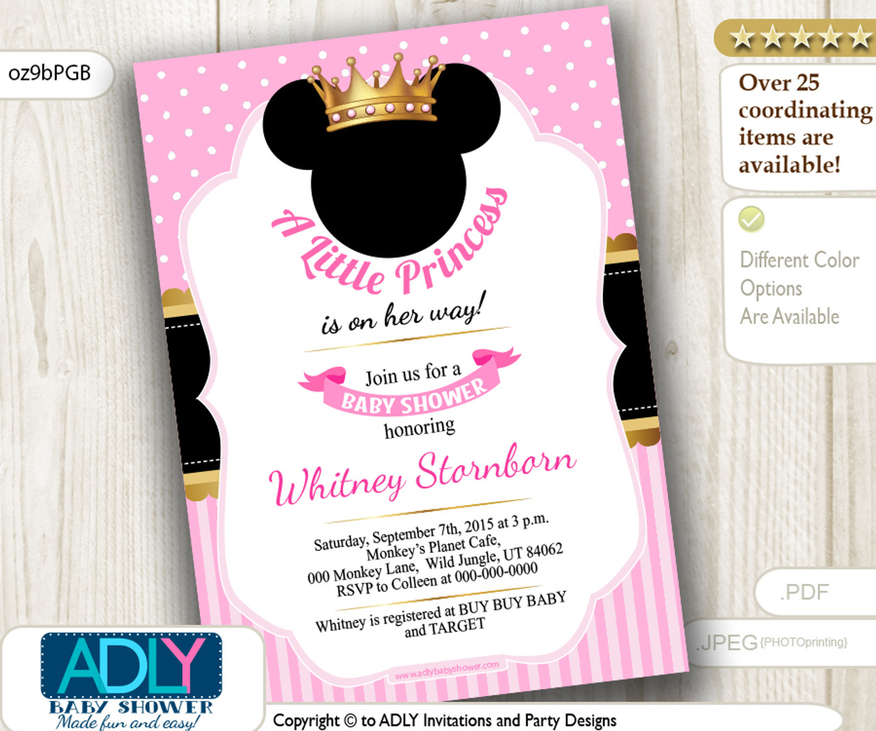 Princess Minnie Mouse Invitation for Baby Shower, Black, Pink, Gold ...