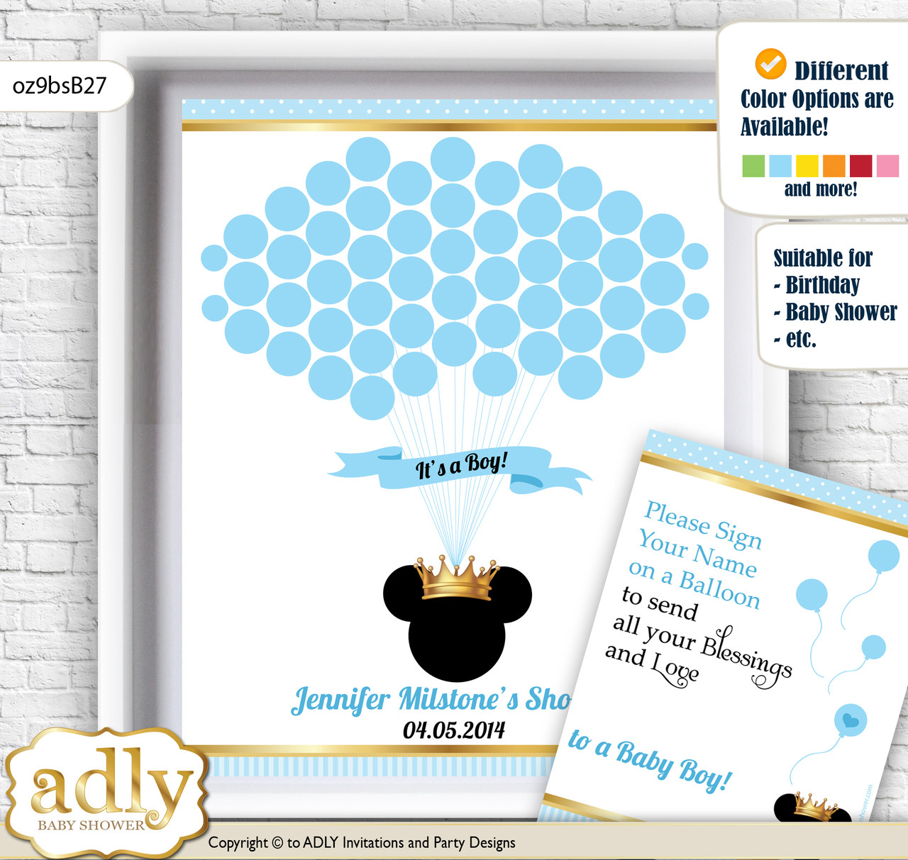 Prince Mickey Guest Book Alternative for a Baby Shower, Creative ...