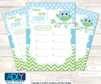 Boy Owl Guess Baby Food Game or Name That Baby Food Game for a Baby Shower, Spring Blossom