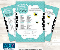 Neutral Bee What is in Mommy's Purse, Baby Shower Purse Game Printable Card , Black,  Turquoise