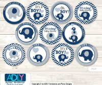 Baby Shower Boy Peanut Cupcake Toppers Printable File for Little Boy and Mommy-to-be, favor tags, circle toppers, Chevron, Blue Grey