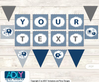 Personalized Boy Peanut Printable Banner for Baby Shower, Blue Grey, Chevron