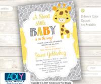 Gender Neutral Giraffe Invitation for Baby Shower, Gender Reveal, Unknown Gender Invitation