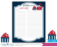 Nautical Guest Gift List for Baby Shower, Write all the gifts and guests of Nautical Shower DIY Stripes Navy red, present, crab - ao41bs53