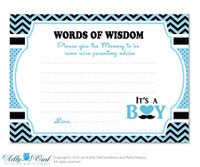 Blue Man Boy Mustache Words of Wisdom, Advice Card for Baby Shower Printable DIY for Boy, Chevron - 58bs2