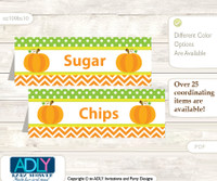 Printable Neutral Pumpkin Buffet Tags or Food Tent Labels  for a Baby Shower or Birthday , Green Orange, Chevron