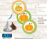 Printable  Neutral Pumpkin Candy Kisses for Baby Neutral Shower DIY Green Orange , Chevron