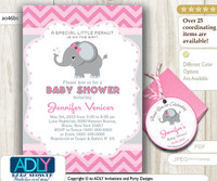 Pink Grey Elephant Invitation for Baby Shower, FREE Elephant Thank You Favor TAG, Printable invitation girl, chevron, pink, grey
