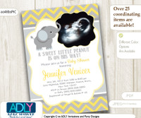 Yellow Grey Elephant Ultrasound Photo Baby Shower invitation for a Boy, chevron