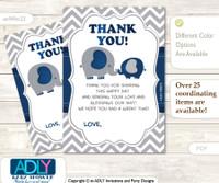 Peanut  Elephant Thank you Cards for a Baby Peanut Shower or Birthday DIY Dark Blue, Chevron