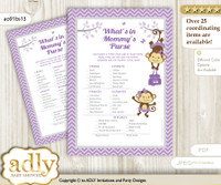 Twins Monkey What is in Mommy's Purse, Baby Shower Purse Game Printable Card , Lavender,  Girls