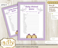 Printable Twins Monkey Baby Animal Game, Guess Names of Baby Animals Printable for Baby Monkey Shower, Lavender, Girls