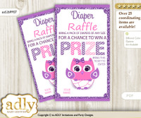 Girl Owl Diaper Raffle Printable Tickets for Baby Shower, Purple Pink, Glitter