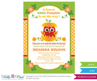 Pumpkin Owl Gender Neutral Baby Shower Printable DIY party invitation