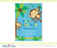 Personalized Blue Brown Jungle Boy Monkeys Baby Shower Printable DIY party invitation for boy - Instant Download