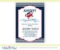 Personalized Nautical Baby Shower for Baby Boy Printable DIY party invitation with crab,ahoy it's a boy