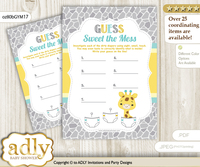 Baby Giraffe Dirty Diaper Game or Guess Sweet Mess Game for a Baby Shower Yellow Mint, Neutral