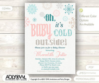 Oh Baby It's Cold Outside Invitation for Baby Shower, Gender Neutral Shower, Snowflakes, Tribal Christmas, Printable Invite, winter