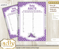 Girl Sneakers Baby ABC's Game, guess Animals Printable Card for Baby Sneakers Shower DIY – Sport