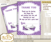 Girl  Sneakers Thank you Cards for a Baby Girl Shower or Birthday DIY Purple Grey, Sport