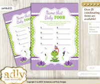 Girl Frog Guess Baby Food Game or Name That Baby Food Game for a Baby Shower, Green Purple Polka