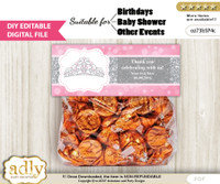 DIY Text Editable Princess Tiara Goodie  Treat Bag Toppers, Favor Bag Digital File, print at home