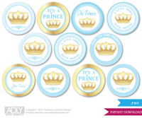Baby Shower  Blue Gold Prince Cupcake Toppers Printable File for Little  Blue Gold and Mommy-to-be, favor tags, circle toppers,  Royal,  Crown