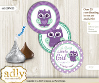 Printable  Girl Owl  Candy Kisses for Baby Girl Shower DIY Purple Green , Mint