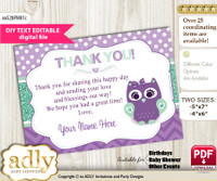 DIY Editable Girl Owl  Thank you Printable card, only text editable thank you for Baby Shower or Birthday Party