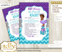 Printable African Princess Price is Right Game Card for Baby Princess Shower, Purple Teal, Silver