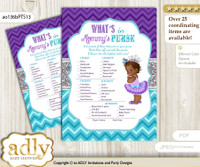 African Princess What is in Mommy's Purse, Baby Shower Purse Game Printable Card , Purple Teal,  Silver