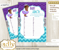 African Princess Baby ABC's Game, guess Animals Printable Card for Baby Princess Shower DIY – Silver