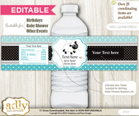 DIY Text Editable Boy Lamb Water Bottle Label, Personalizable Wrapper Digital File, print at home for any event  n