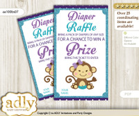 Girl Monkey Diaper Raffle Printable Tickets for Baby Shower, Purple Teal, Polka