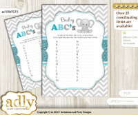Peanut Unisex Baby ABC's Game, guess Animals Printable Card for Baby Unisex Shower DIY – Chevron