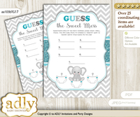 Peanut Unisex Dirty Diaper Game or Guess Sweet Mess Game for a Baby Shower Teal Gray, Chevron